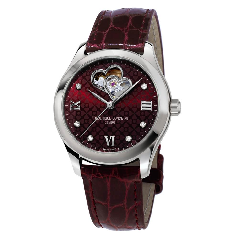 Frederique Constant Ladies Automatic Burgundy Alligator Strap