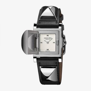 Hermès Medor Watch With Studs Black Calfskin Strap