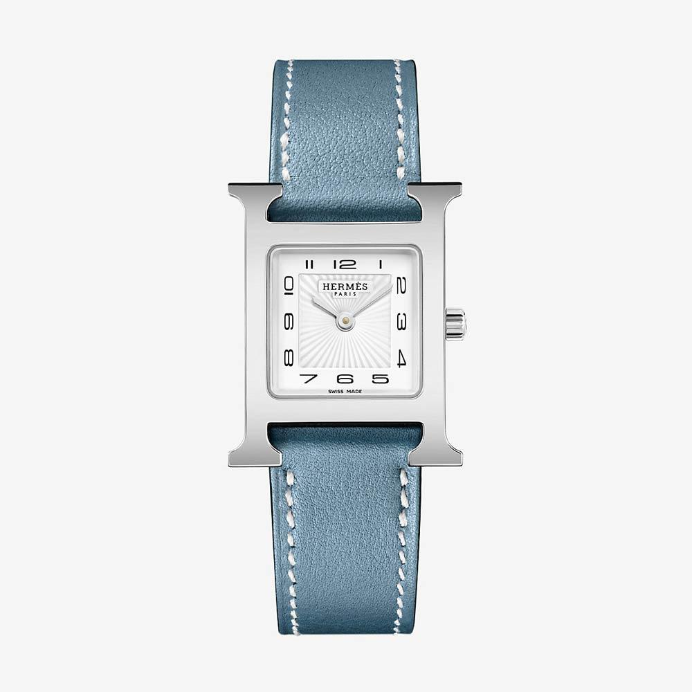 Hermès Heure H Watch With Blue Jean Swift Calfskin Strap