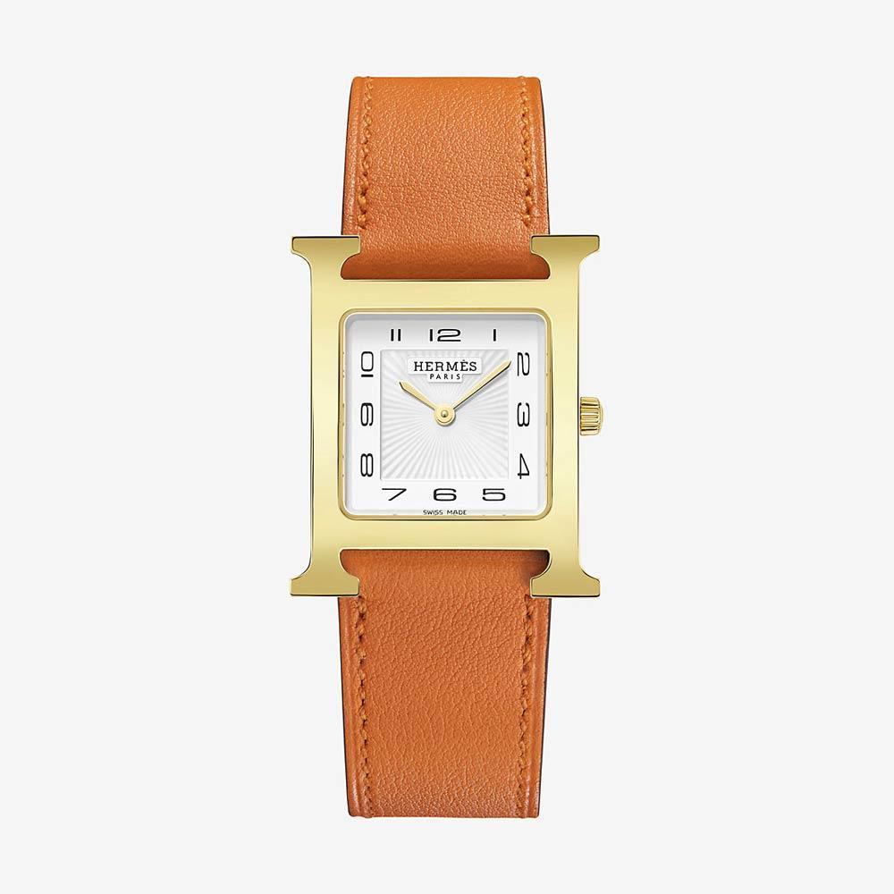 Hermès Heure H Watch 26mm Orange Strap