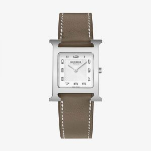 Hermès Heure H Watch With Etoupe Swift Calfskin Strap