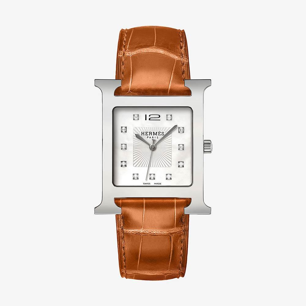 Hermès Heure H Watch With Diamonds, Smooth Orange Alligator Strap