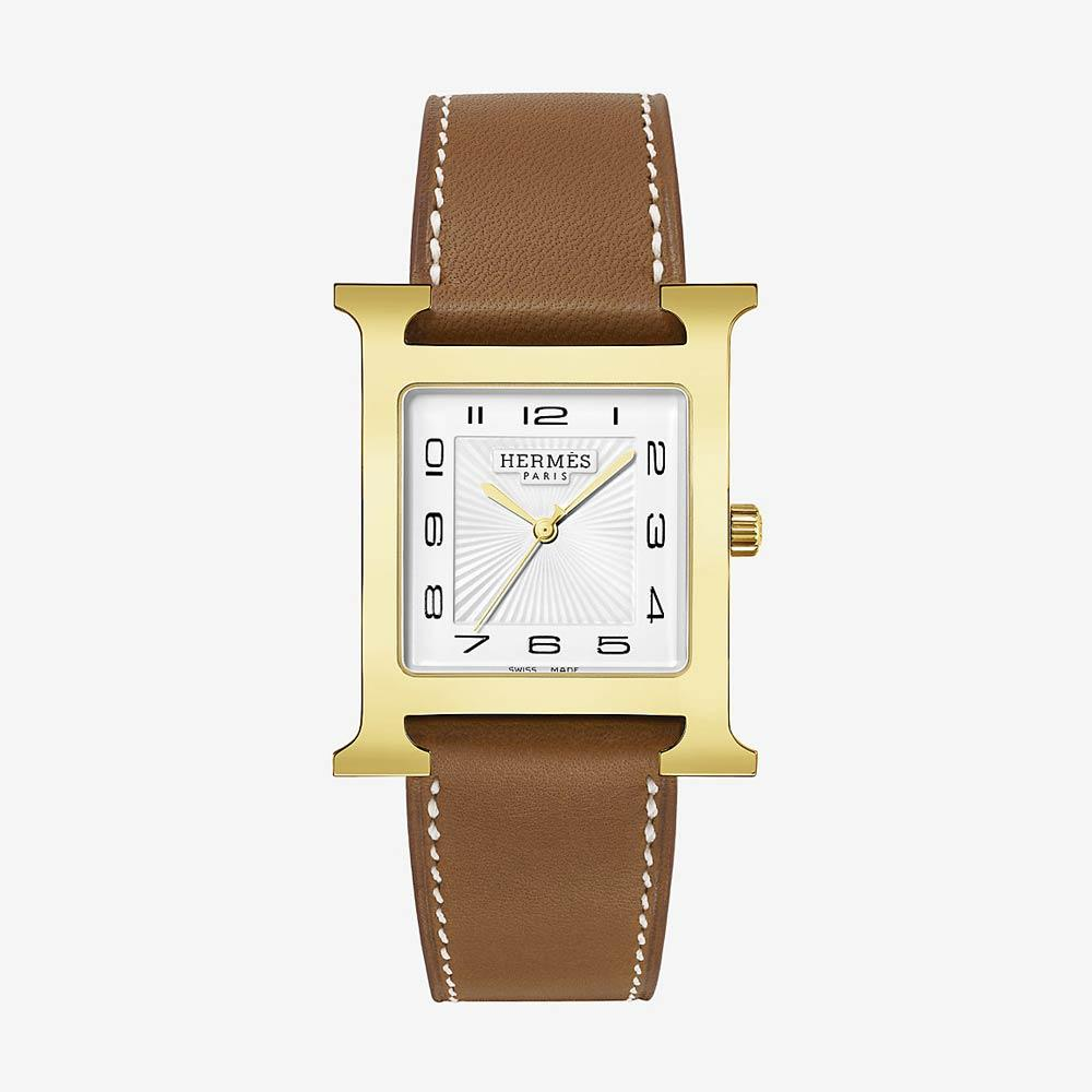 Hermès Heure H Watch Gold Plated Steel With Barenia Calfskin Strap