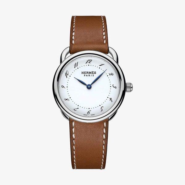 Hermès Arceau Watch, Medium Model 36 mm Natural Calfskin Strap