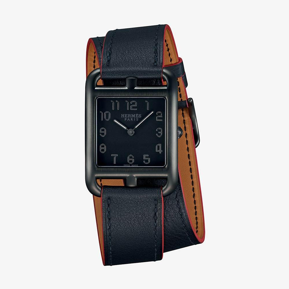 Hermès Cape Cod Watch Black Dial With Double Strap