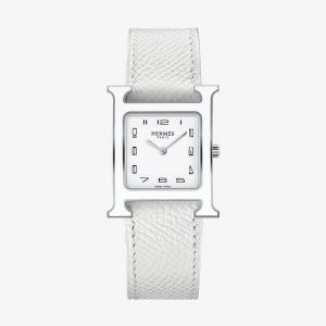 Hermès Heure H Watch, Medium Model White Grained Calf Strap