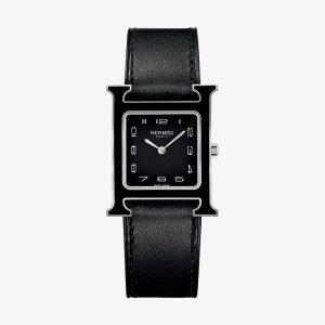 Hermès Heure H Watch, Medium Model Black