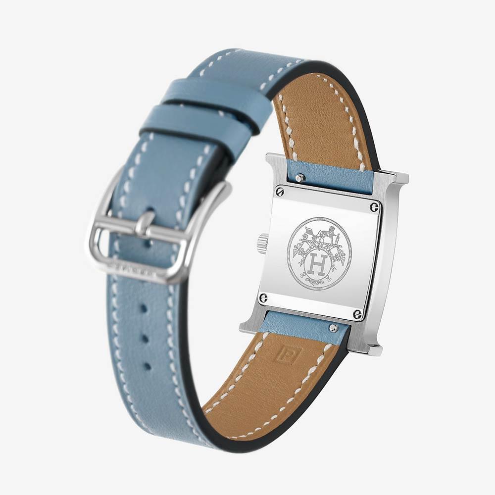 Hermès Heure H Watch With Blue Jean Swift Calfskin Strap