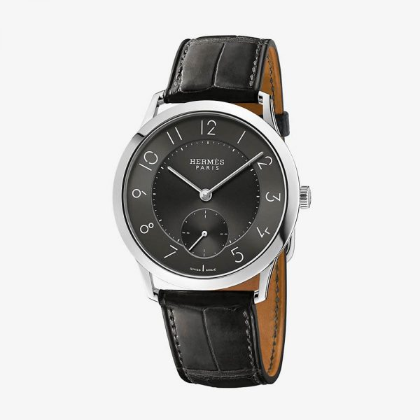 Hermès Slim d'Hermes Watch With Matte Graphite Alligator Strap