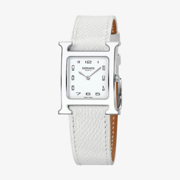 Hermès Heure H Watch, Medium Model White Grained Calf Strap