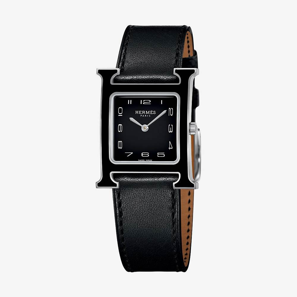 Hermès Heure H Watch, Medium Model Black