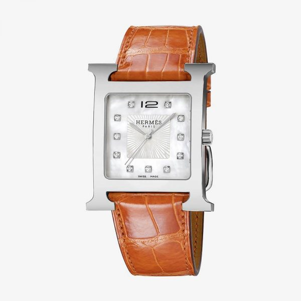 Hermès Heure H Watch With Diamonds, Smooth Orange Alligator Strap