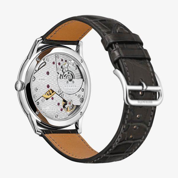Hermès Slim d'Hermes Watch With Matte Graphite Alligator Strap