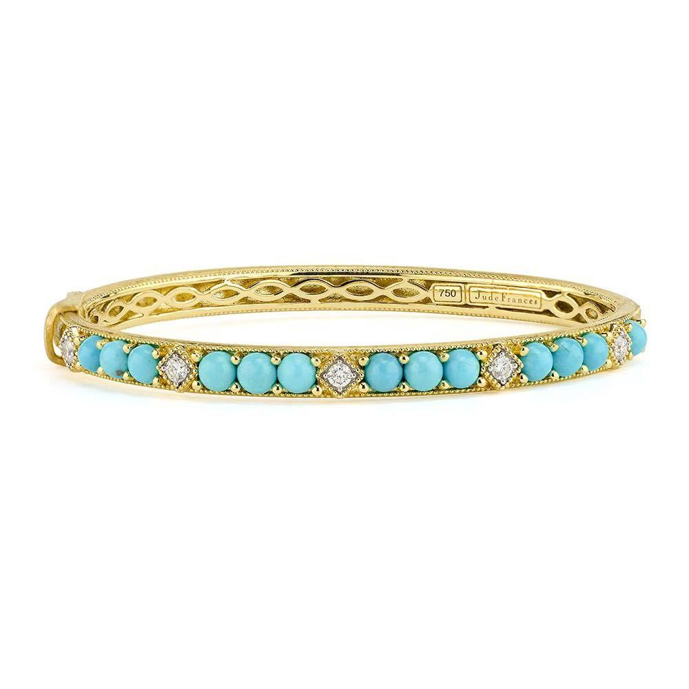 Jude Frances Lisse Round Stone Bangle with Simple Diamond Accents