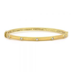 Jude Frances Lisse Simple Diamond Bangle with JFJ Finish