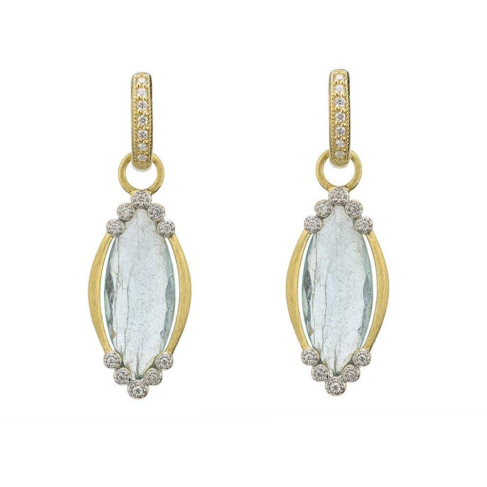 Jude Frances Provence Champagne Delicate Marquis Stone Bezel Earring Charms