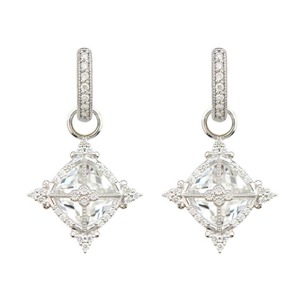 Jude Frances Provence Cushion Stone Compass Rose Trio Earring Charms