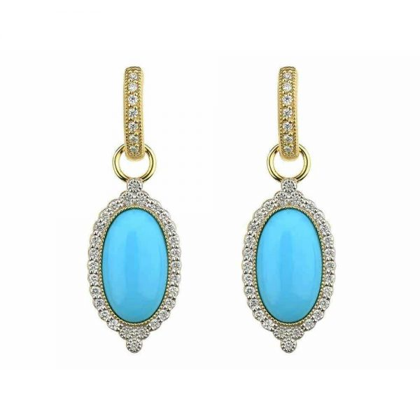 Jude Frances Provence Oval Stone Pave Trio Earring Charms