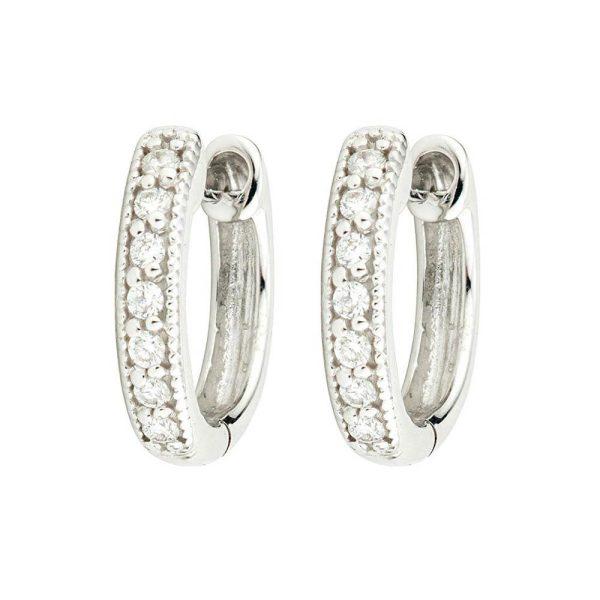 Jude Frances Small Diamond Huggie Hoop Earrings
