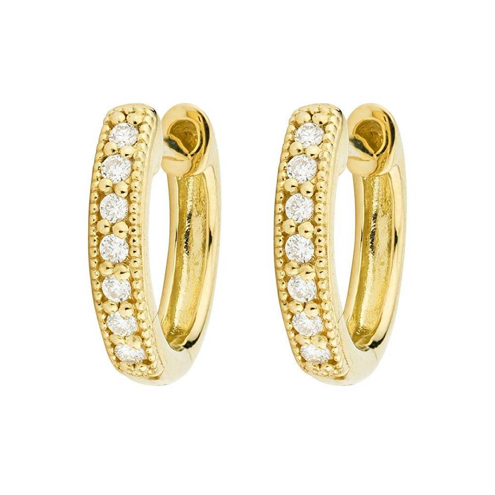 Jude Frances Small Diamond Huggie Hoop Earrings Yellow Gold