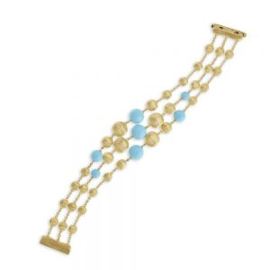 Marco Bicego 18K Yellow Gold and Turquoise Three Strand Bracelet