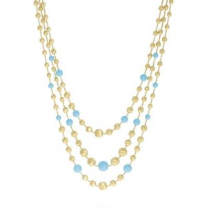 Marco Bicego 18K Yellow Gold and Turquoise Three Strand Statement Necklace