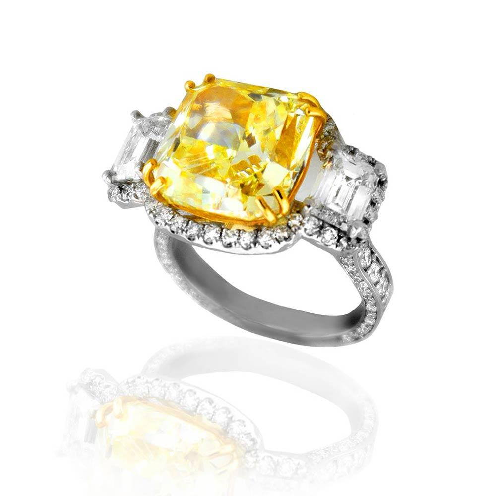 Diva White Gold Yellow and White Diamond Ring