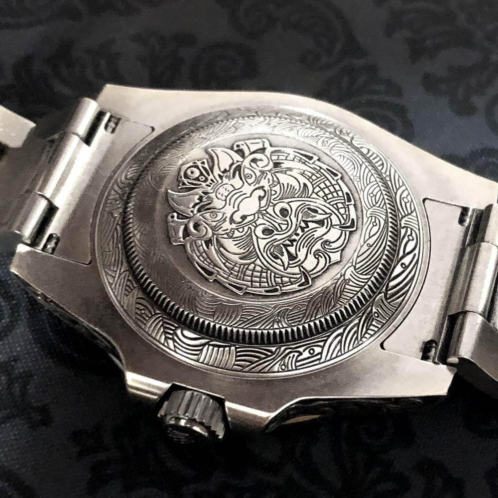 Rolex Hand-Engraved Submariner With Black and White Diamonds