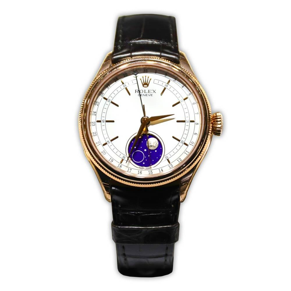 Rolex Cellini Moonphase Watch 18K Leather Strap