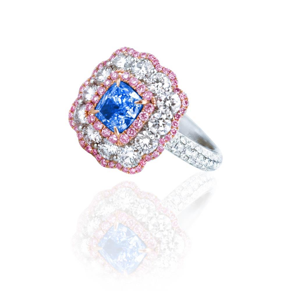 Diva Design: Diva Design Blue Diamond Ring With Pink And White Diamonds