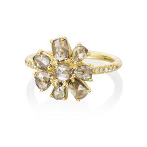 Rose-Cut-Champagne-Diamond-Flower-Ring