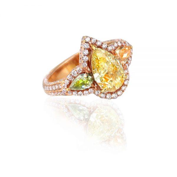 tri-color diamond ring